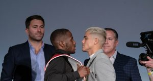 Tevin Farmer and JoJo Diaz faced off ahead of their IBF Super Featherweight world title clash Credit: Alex Nunez