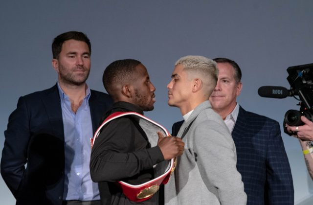 Tevin Farmer and JoJo Diaz faced off ahead of their IBF Super Featherweight world title clash Credit: Alex Nunez