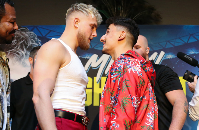 YouTubers Jake Paul and AnEsonGib face off in Miami Credit: Matchroom Boxing