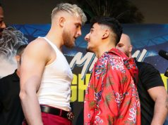 Jake Paul and AnEsonGib had to be separated after coming face-to-face at the first press conference in LA Credit: Melina Pizano/Matchroom Boxing USA