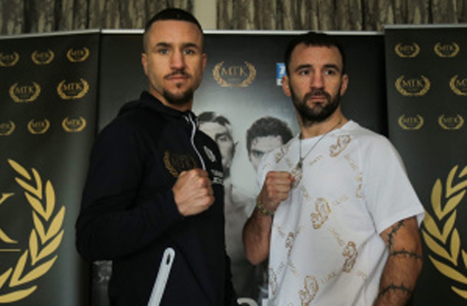 David Oliver Joyce and Lee Haskins face off at the press conference ahead of their bout. Photo Credit: British Boxing News