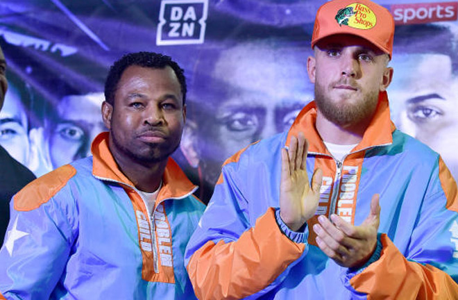 The calm before the storm. Jake Paul and his coach Shane Mosley at the weigh-in. Photo Credit: CBS Sports