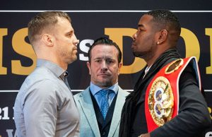 Briedis and Dorticos face to face. Photo credit: World Boxing Super Series