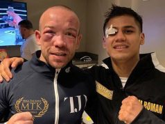 Danny Roman and TJ Doheny showing off their war wounds Credit: MTK Global / Thompson Boxing