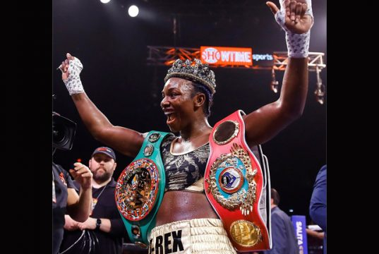 Claressa Shields became the fastest three-weight world champion after beating Ivana Habazin in Atlantic City Credit: AP PHOTO/MATT ROURKE