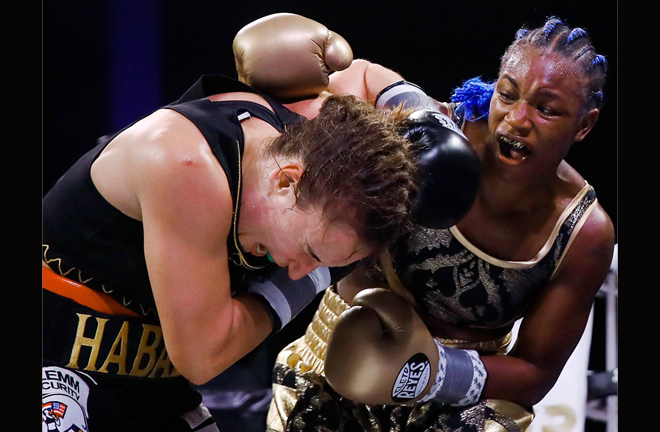Shields proved too much for former two-weight champion Habazin Credit: AP PHOTO/MATT ROURKE