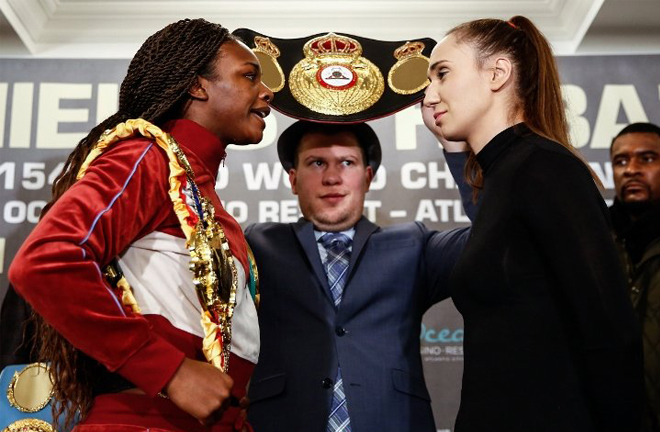 Shields and Habazin clashed at their press conference in Atlantic City Credit: Stephanie Trapp