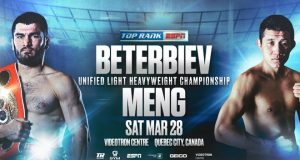 Artur Beterbiev will defend his unified Light Heavyweight world titles against Fanlong Meng on March 28 in Quebec Credit: Top Rank