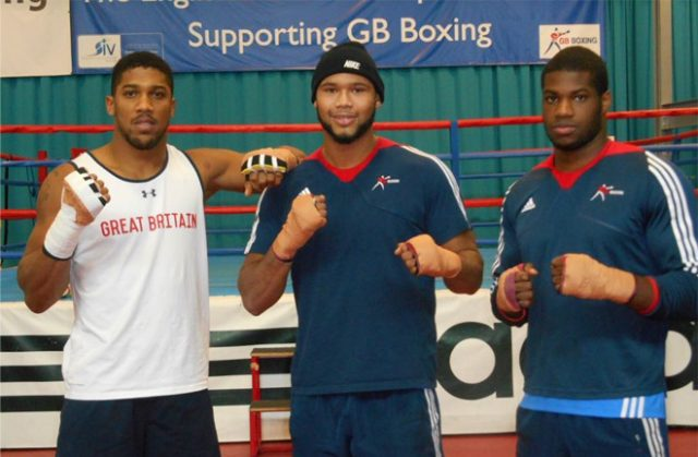 Frazer Clarke flanked by Anthony Joshua and Daniel Dubois. Clarke is picking Joyce to beat Dubois in April. Photo Credit: TalkSport.