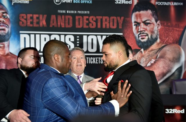 Dubois shoved Joyce at the first press conference for their highly-anticipated clash Photo Credit: Reuters