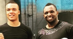 Fabio Wardley and manager, Dillian Whyte. Photo Credit: Sky Sports.