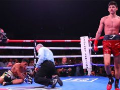 Ryan Garcia put Fonseca down on the canvas twice as he won with a first round KO on Friday night.