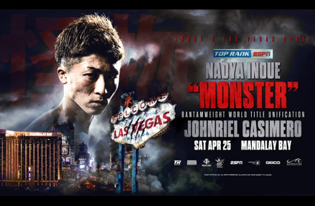 Naoya Inoue will face John Casemiro in a world title unification battle on April 25 Credit: Top Rank Boxing