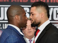 Joe Joyce and Daniel Dubois head to head at the first press conference. Photo Credit: Frank Warren.