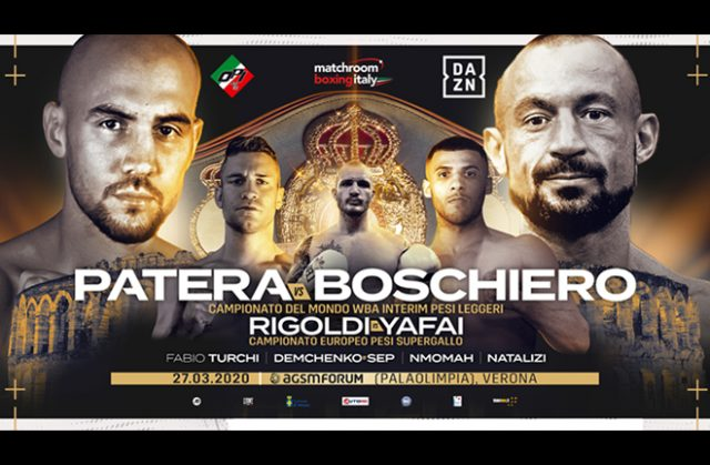 Francesco Patera clashes with Devis Boschiero for the Interim WBA Lightweight World Title in Verona on 27th March Photo Credit: Matchroom Boxing