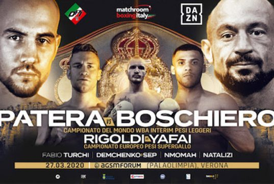 Patera vs Boschiero postponed due to the Coronavirus outbreak in Italy. Credit: Matchroom