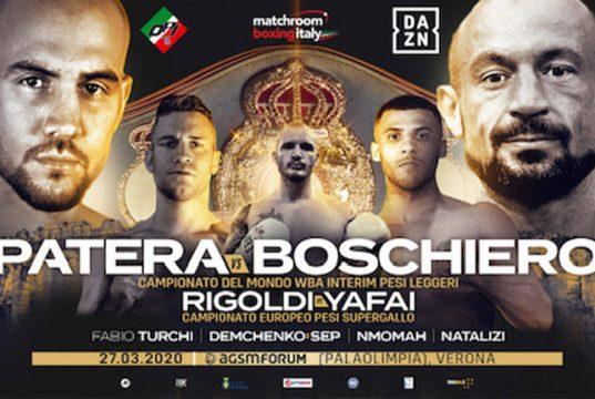 Patera vs Boschiero postponed due to the Coronavirus outbreak in Italy. Credit: Matchroom