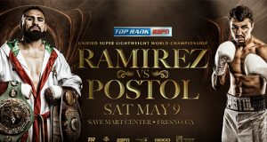 Jose Ramirez-Viktor Postol Set for Save Mart Center Super Lightweight Title Showdown May 9 LIVE on ESPN. Credit: Top Rank.