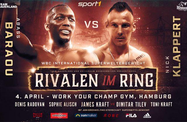 Abass Baraou (9-0, 6 KOs) will defend his WBC International Super Welterweight title against his countryman Nick Klappert (28-3, 15 KOs). Credit: Team Sauerland.