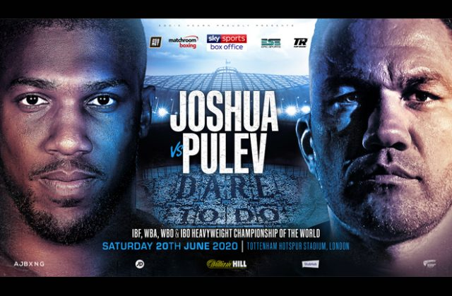 Anthony Joshua's world heavyweight title defence against Kubrat Pulev set for June 20th at Tottenham Hotspur Stadium has been postponed Credit: Matchroom Boxing