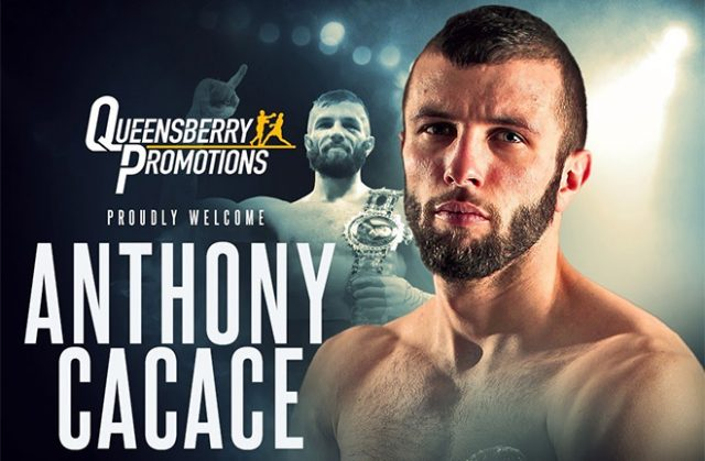 The British super-featherweight champion, Anthony Cacace, has signed with Frank Warren. Credit: Queensbury Promotions.