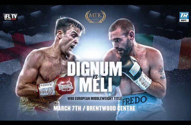 Danny Dignum makes a first defence of his WBO European Middleweight strap against Alfredo Meli on Saturday Credit: MTK Global