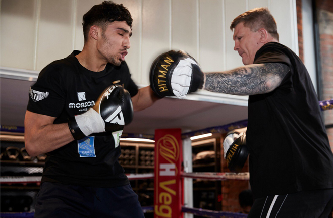 Ricky Hatton is guiding the career of Ibrahim Nadim, who fights on the same bill as Fiaz Credit: Matchroom Boxing