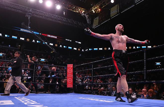 Helenius celebrates after winning the WBA world heavyweight title eliminator Credit: BT Sport Boxing