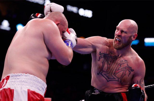 Robert Helenius produced a huge upset to stop Adam Kownacki in Brooklyn Credit: BT Sport Boxing