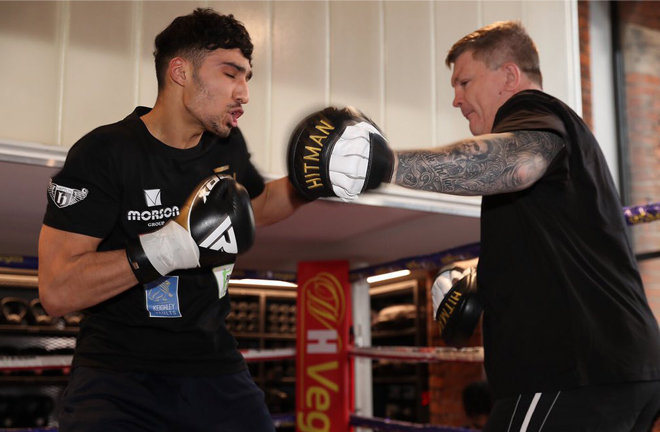 Nadim is learning his trade under the stewardship of former two-weight world champion Ricky Hatton Credit: Matchroom Boxing
