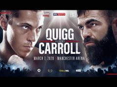 Scott Quigg and Jono Carroll collide at the Manchester Arena on Saturday night Credit: Matchroom Boxing