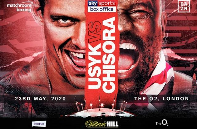 Oleksandr Usyk collides with Dereck Chisora at the o2 arena on May 28th in a real clash of the titans battle. Credit: Matchroom Boxing.