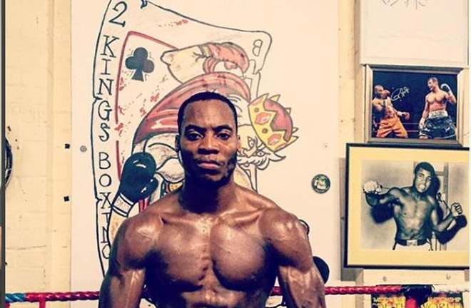 Egbunike in the 2 Kings gym in Kingston, the first gym he fought for. Photo Credit: Surrey Comet.