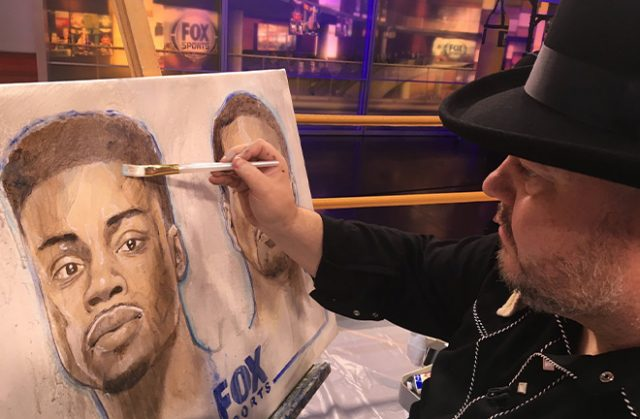 Richard T Slone painting Errol Spence Jr. Photo Credit: @SloneArt Twitter