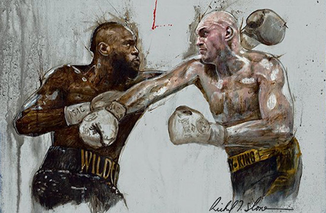 Slone's artwork of Tyson Fury and Deontay Wilder for the rematch that took place in February 2019. Photo Credit: @SloneArt Twitter