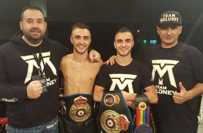 The Moloney twins flanked by Tony Tolj [left] and Angelo Hyder [right]. Photo Credit: Boxing Scene