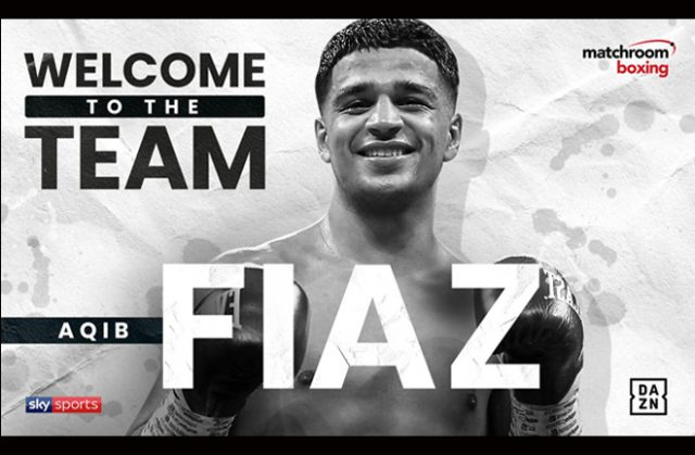 Unbeaten prospect Aqib Fiaz has signed with Eddie Hearn's Matchroom Boxing Credit: Matchroom Boxing