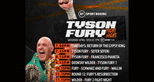 Tyson Fury's comeback story and fights will be aired on BT Sport on Saturday night Credit: BT Sport