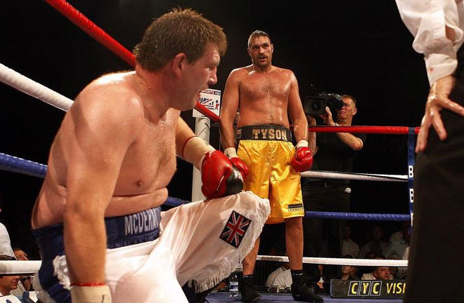 Tyson Fury and John McDermott during their rematch. Photo Credit: Sky Sports