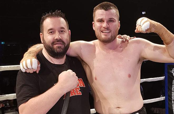 Liam Callanan with Tony Tolj of Dragon Fire Boxing. Photo Credit: Tony Tolj