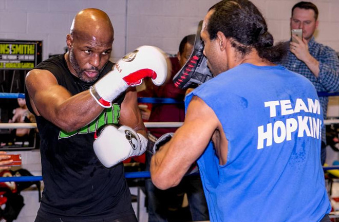 Bernard Hopkins and former opponent John David Jackson. Photo Credit: GBP