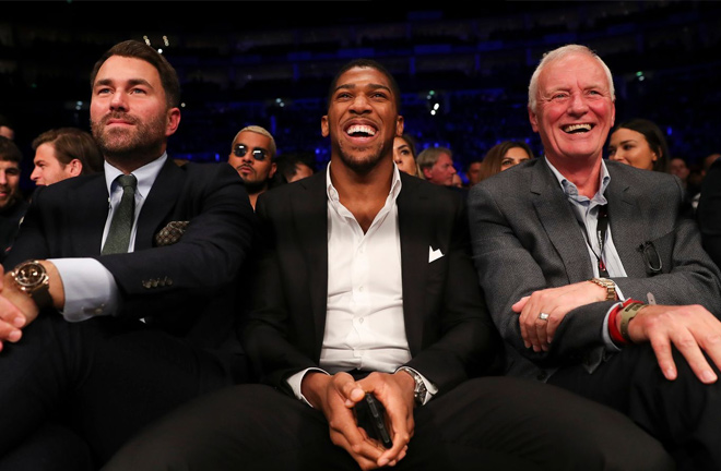 Eddie Hearn, Anthony Joshua and Barry Hearn are at the top of world boxing today. Photo Credit: Sky Sports