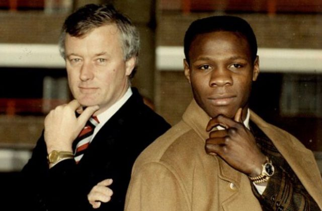 Barry Hearn and his first World champion, Chris Eubank. Photo Credit: Twitter / Eddie Hearn