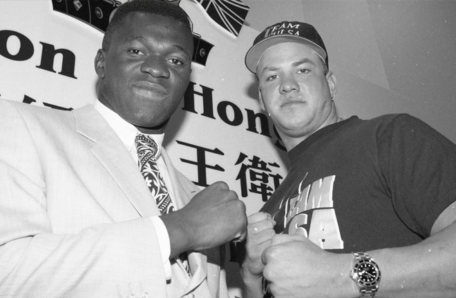 Herbie Hide and Tommy Morrison promoting the scheduled bout between the pair. Photo Credit: South China Morning Post