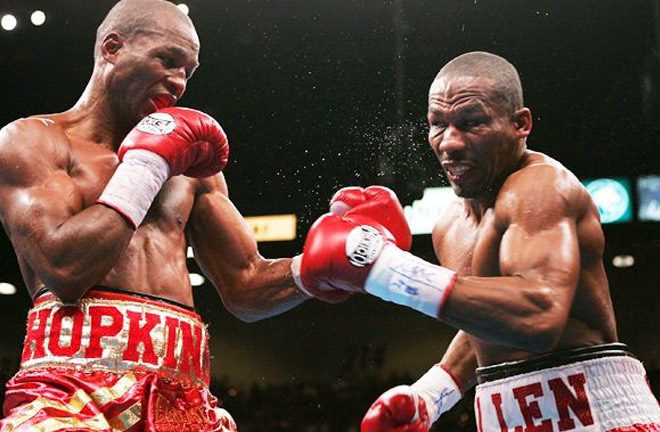 Hopkins and Allen in their third bout as the pair became familiar foes. Photo Credit: AKBoxing