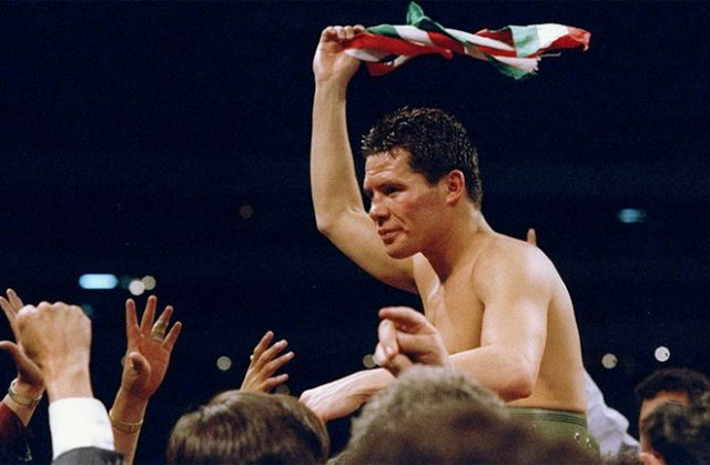 Julio Cesar Chavez after beating Greg Haugen. Photo Credit: The Fight City