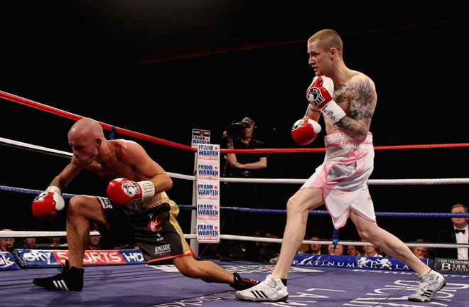 Nicky Cook slipped a disc in the first round against Ricky Burn in what would be his final bout. Photo Credit: Bad Left Hook