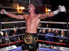 Nathan 'Hitman' Heaney celebrating his IBO title win. Photo Credit: Stoke Sentinel