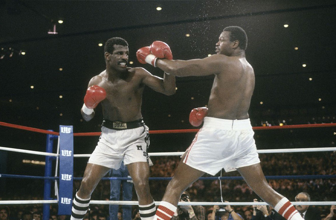 Larry Holmes lost for the first time to Michael Spinks as he was on the verge of matching Rocky Marciano's 49-0 record. Photo Credit: Bad Left Hook