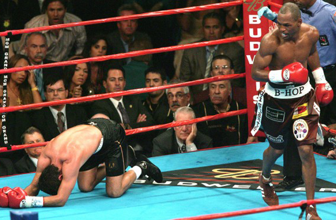 B-Hop ended his battle with fellow great Oscar De La Hoya with a brutal body shot in Las Vegas Photo Credit: Boxrec